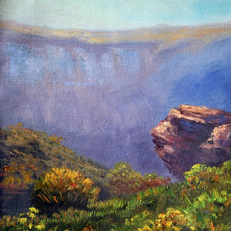 (CreativeWork) View from Mount Hay, Blue Mountains - oil on loose linen  by Christopher Vidal. Oil Paint. Shop online at Bluethumb.