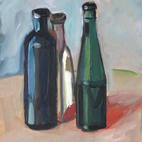 (CreativeWork) Three bottles by Liza Merkalova. Oil Paint. Shop online at Bluethumb.