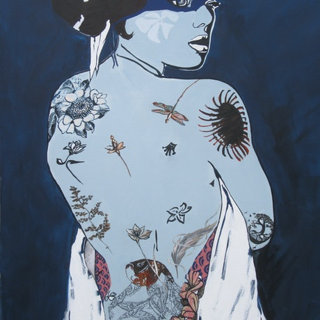 (CreativeWork) Saw her bathing on the roof by Lesley Taylor. Acrylic Paint. Shop online at Bluethumb.