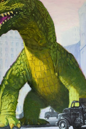 (CreativeWork) The Beast Awakes - Quirky Sci Fi Painting 1950s retro surreal Hollywood science fiction dinosaur beast  by Jane Ianniello. Acrylic Paint. Shop online at Bluethumb.