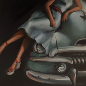 (CreativeWork) RED SHOES II feat. 1956 FJ HOLDEN by Rosa Fedele. Oil Paint. Shop online at Bluethumb.