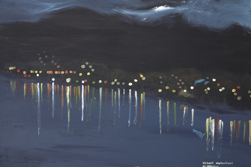 (CreativeWork) Hobart Waterfront by Christopher Johnston. Acrylic Paint. Shop online at Bluethumb.