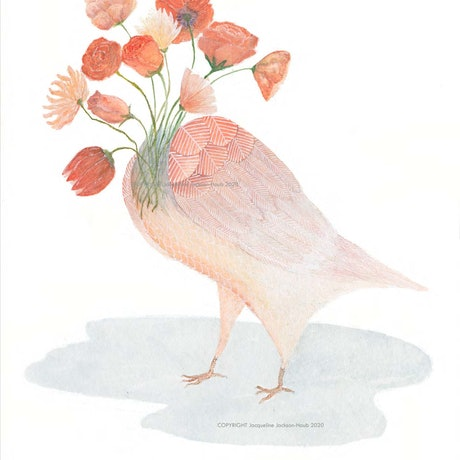 (CreativeWork) Rose Bird Ed. 1 of 50 by Jacqui Jackson-Haub. Print. Shop online at Bluethumb.