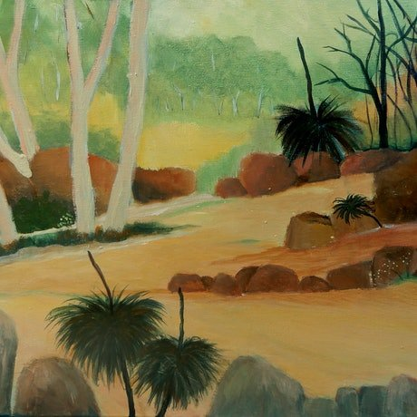 (CreativeWork) Bush Walk by Doodie Herman. Acrylic Paint. Shop online at Bluethumb.