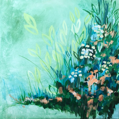 (CreativeWork) Meadows Edge by Andrea Hamann. Acrylic Paint. Shop online at Bluethumb.