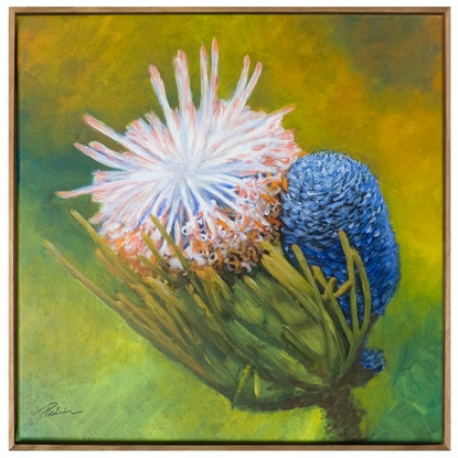 (CreativeWork) Wildflower - square, green, blue, pink flower by Bruce Peebles. Acrylic Paint. Shop online at Bluethumb.