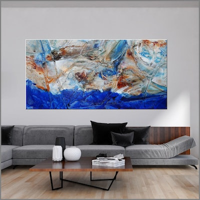 (CreativeWork) Sapphire Outback 240cm x 120cm HUGE Blue Cream Textured Acrylic Abstract Gloss Finish FRANKO by _Franko _. Acrylic Paint. Shop online at Bluethumb.