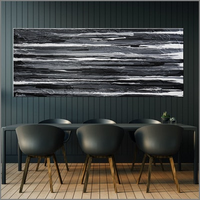 (CreativeWork) 50 Shades of Grey 200cm x 80cm HUGE White Grey Textured Acrylic Abstract Gloss Finish FRANKO by _Franko _. Acrylic Paint. Shop online at Bluethumb.