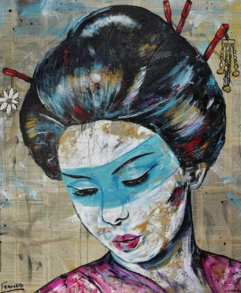 (CreativeWork) #ON SALE# Thought (Geisha) 120cm x 100cm Memoirs of a Geisha book pages on linen canvas - No further framing needed by _Franko _. Acrylic Paint. Shop online at Bluethumb.
