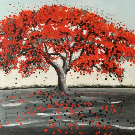 (CreativeWork) Poinciana Tree - Strong Enough to Bend ON SALE by Robyn Gray. Acrylic Paint. Shop online at Bluethumb.