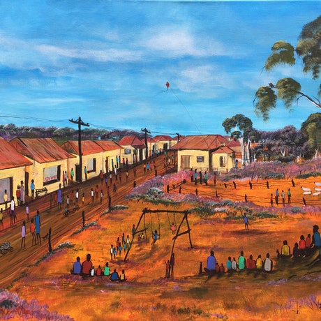 (CreativeWork) COMMUNITY-SHOPPING DAY by Pongillj Miller. Acrylic Paint. Shop online at Bluethumb.