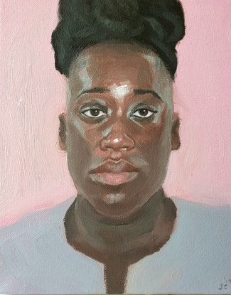 (CreativeWork) Portrait of a Woman by Jemma Cakebread. Oil. Shop online at Bluethumb.