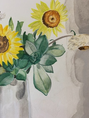(CreativeWork) Aeoniums And Paper Daisies by Dominika Keller. Watercolour Paint. Shop online at Bluethumb.
