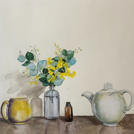 (CreativeWork) Clarice With Sadler Jug And Wattle by Dominika Keller. Watercolour Paint. Shop online at Bluethumb.