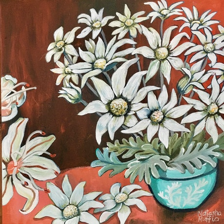 (CreativeWork) Flannel Flowers in a Blue Vase by Natasha Ruffio. Acrylic Paint. Shop online at Bluethumb.