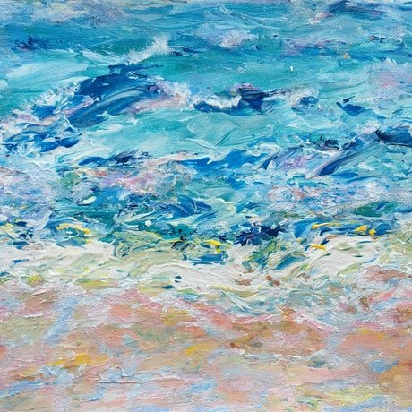 (CreativeWork) Evening Tide Blue by Kim Sayers. Acrylic Paint. Shop online at Bluethumb.