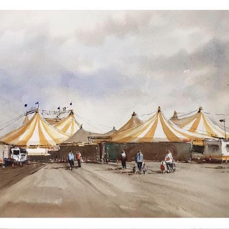(CreativeWork) Silvers Circus in Town by Kanag Janakan. Watercolour Paint. Shop online at Bluethumb.
