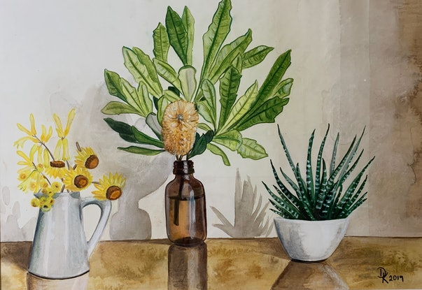 (CreativeWork) Queenscliff Banksia With Succulent & Yellow Florals by Dominika Keller. Watercolour Paint. Shop online at Bluethumb.