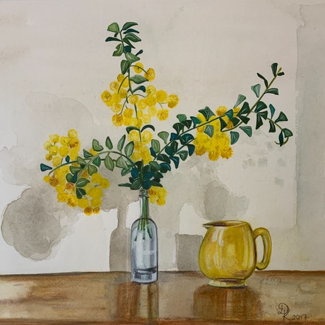 (CreativeWork) Sadler Jug With Yellow Pom Poms by Dominika Keller. Watercolour Paint. Shop online at Bluethumb.