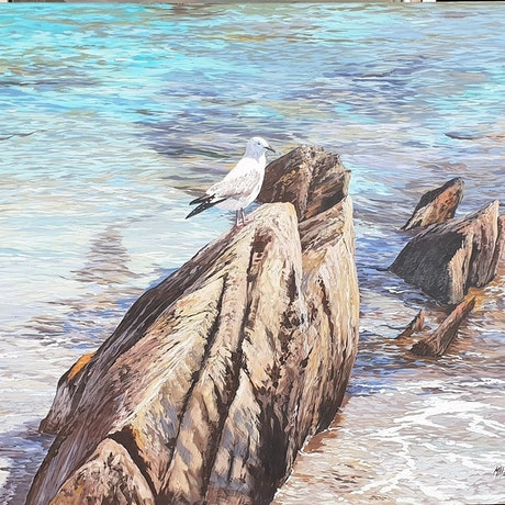 (CreativeWork) SEAGULL MURAL by Margaret HADFIELD. Acrylic Paint. Shop online at Bluethumb.