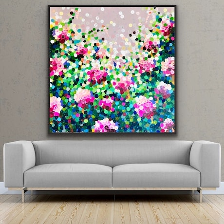 (CreativeWork) Rosa madame pompadour 122x122 framed large textured abstract by Sophie Lawrence. Acrylic Paint. Shop online at Bluethumb.