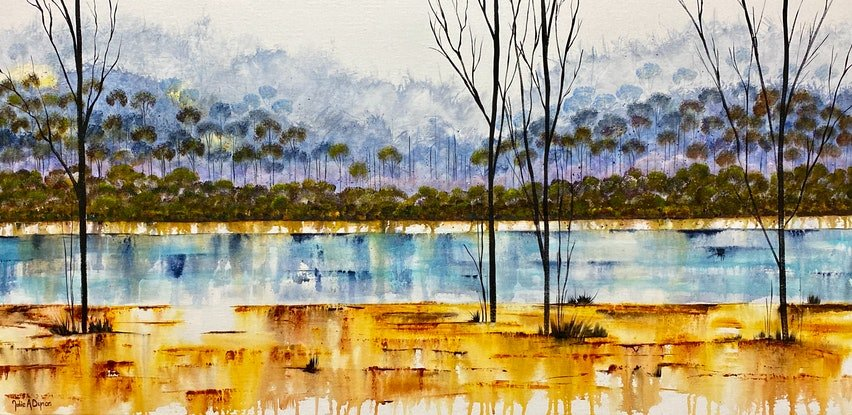 (CreativeWork) Morning Light - Earth & Water series by Julie Dynan. Acrylic Paint. Shop online at Bluethumb.
