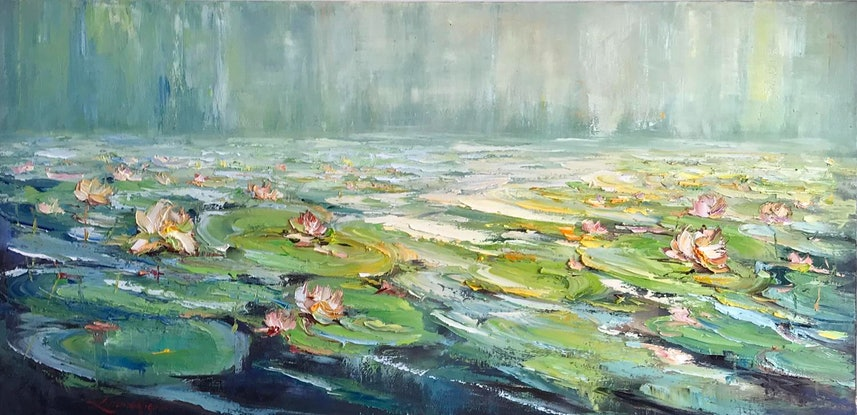 (CreativeWork) Water lilies No 14 by Liliana gigovic. Oil. Shop online at Bluethumb.
