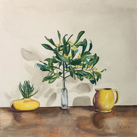 (CreativeWork) Blackwood With Yellow Ceramics by Dominika Keller. Watercolour Paint. Shop online at Bluethumb.