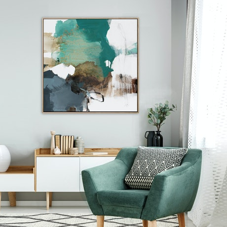(CreativeWork) Espressione 1 - square, green grey gold abstract by Stephanie Laine. Acrylic Paint. Shop online at Bluethumb.