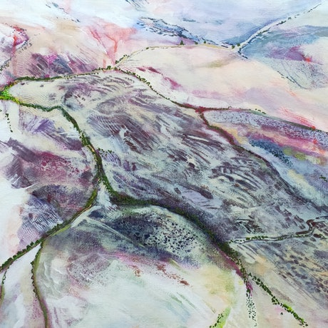 (CreativeWork) Aerial View - Maree to Lake Eyre by Lyn Watts. Mixed Media. Shop online at Bluethumb.