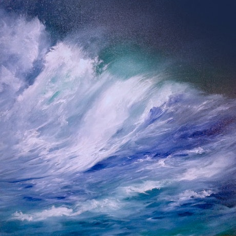 (CreativeWork) Stormy Water by Kathryn Johnston. Oil Paint. Shop online at Bluethumb.