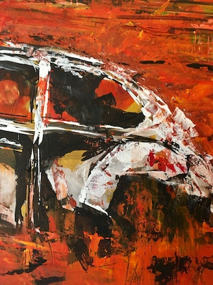 (CreativeWork) Impression of a  VW Beetle by Jenny Mounfield. Acrylic Paint. Shop online at Bluethumb.