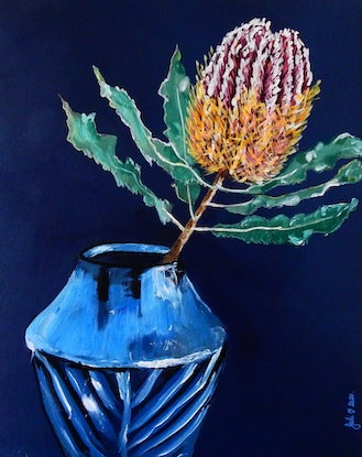 (CreativeWork) Banksia in Vase by julie hollis. Acrylic Paint. Shop online at Bluethumb.
