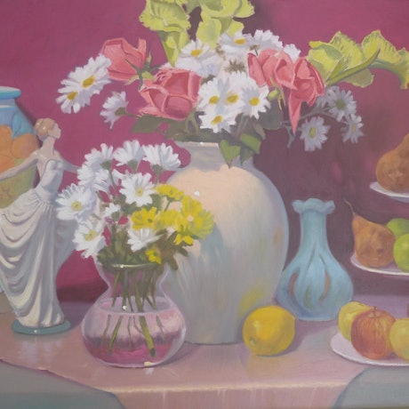 (CreativeWork) FLOWERS AND FRUIT by Glen Gillard. Oil Paint. Shop online at Bluethumb.