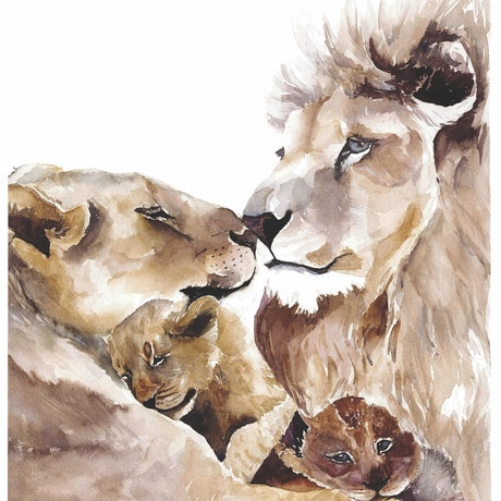 (CreativeWork) Family#2 by Inna Ten. Watercolour Paint. Shop online at Bluethumb.