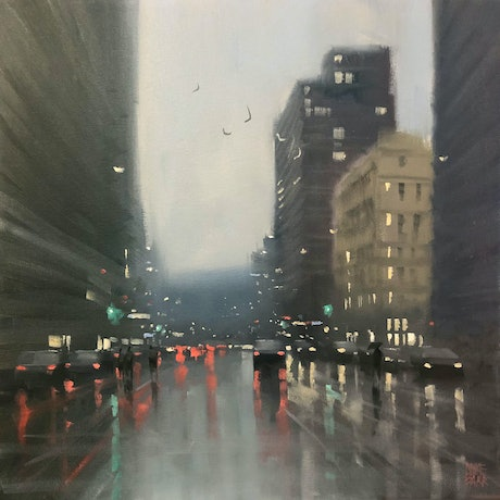 (CreativeWork) Winter on Flinders Street - rainy cityscape by Mike Barr. Oil Paint. Shop online at Bluethumb.