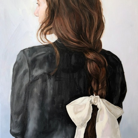(CreativeWork) White Bow  by Holly Harper. Oil Paint. Shop online at Bluethumb.