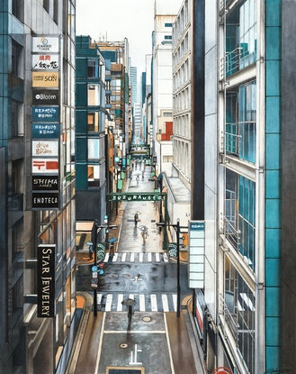 (CreativeWork) A View of Ginza by Erin Nicholls. Drawings. Shop online at Bluethumb.