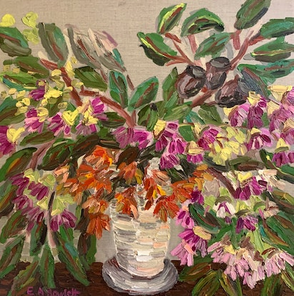 "(CreativeWork) ""Late Summer Gum Blossom""  by Elisabeth Howlett. Oil Paint. Shop online at Bluethumb."