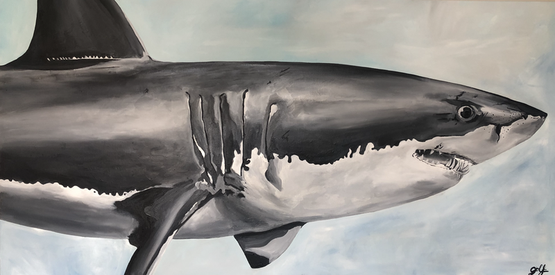 (CreativeWork) Umberto the Shark by Silvia Rubboli Golf. Oil Paint. Shop online at Bluethumb.