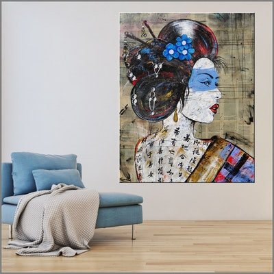 (CreativeWork) Memoirs 120cm x 150cm Memoirs of a Geisha book pages on linen canvas - No further framing needed by _Franko _. Acrylic Paint. Shop online at Bluethumb.
