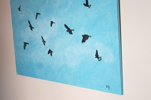 (CreativeWork) Black Cockatoos by Barry Johnson. Acrylic Paint. Shop online at Bluethumb.