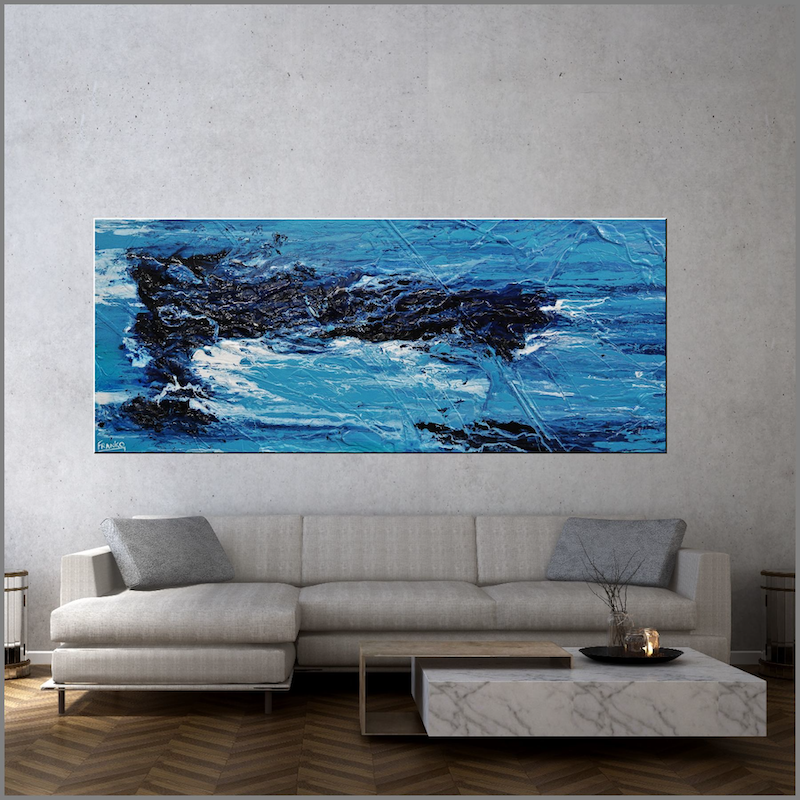 (CreativeWork) Blue Myth 200cm x 80cm HUGE Blue Textured Acrylic Abstract Gloss Finish FRANKO by _Franko _. Acrylic Paint. Shop online at Bluethumb.