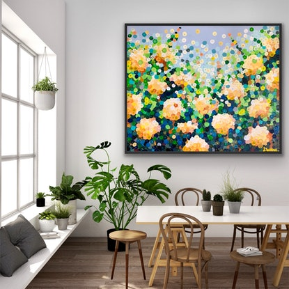 (CreativeWork) Rosa giallo122x102 framed large textured  floral abstract  by Sophie Lawrence. Acrylic Paint. Shop online at Bluethumb.