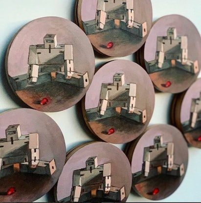 (CreativeWork) Repeat (8 wooden  boards of 10cm diameter) by Margherita Sanguineti. Oil Paint. Shop online at Bluethumb.