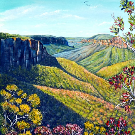 (CreativeWork) Govetts Leap, Blue Mountains by Linda Callaghan. Acrylic Paint. Shop online at Bluethumb.