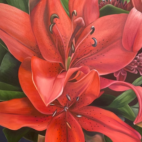 (CreativeWork) Celebration Lily 2 by Linda McGowan. Oil Paint. Shop online at Bluethumb.
