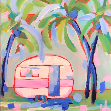 (CreativeWork) The Simple Life - Retro Van by Jen Shewring. Acrylic Paint. Shop online at Bluethumb.