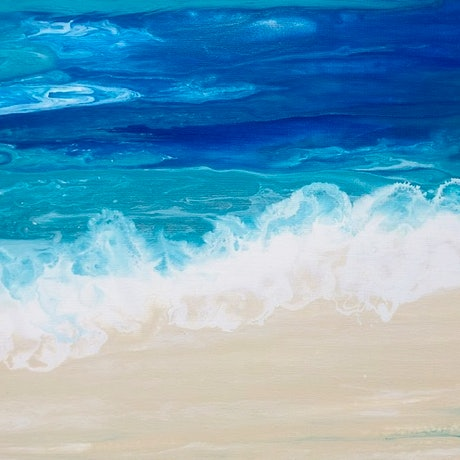"(CreativeWork) ""Lapping Waves"" Original Beach Painting by Debra Ryan. Mixed Media. Shop online at Bluethumb."