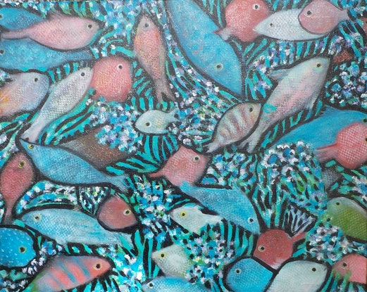 "(CreativeWork) "" Fish on the reef"" by Catherine Walker. Acrylic Paint. Shop online at Bluethumb."